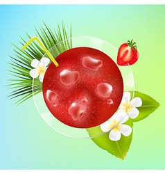Strawberry Cocktail With Ice And Plumeria vector
