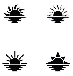 Sunset icon set vector