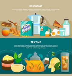 tea time horizontal banners vector image