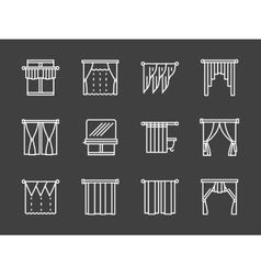 Textile blinds simple white line icons vector image