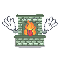 Tongue out luxury fireplace isolated on the mascot vector