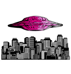 Ufo in night sky above city with radiant beam vector