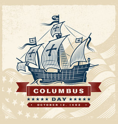Vintage columbus day label vector
