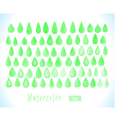 Watercolor green drops isolated on whit vector