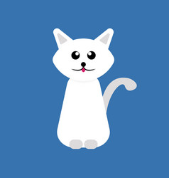 white cartoon cat vector image