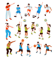 Young athletes isometric set vector