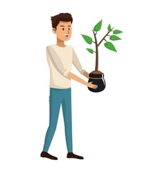 young man plant pot design vector image