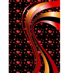 Bright curves on a black background with hearts vector image vector image