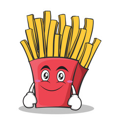 smile face french fries cartoon character vector image vector image
