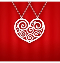 Valentines Day Heart on Red Background vector image vector image