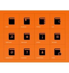 Book icons on orange background vector image