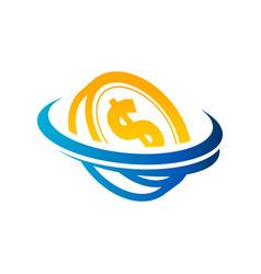 dollar coin logo icon vector image vector image