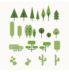 Flat tree set vector image