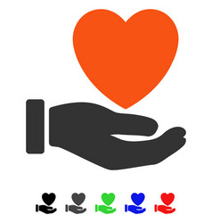 heart charity flat icon vector image