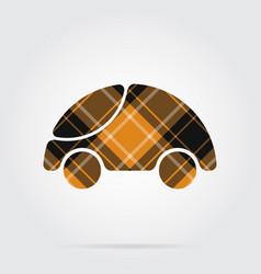 orange black tartan icon - cute rounded car vector image vector image
