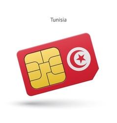 Tunisia mobile phone sim card with flag vector