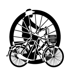 Wheel of ride Bicycle Silhouette vector image