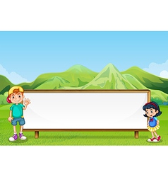 A young boy and a young girl beside the empty vector image vector image