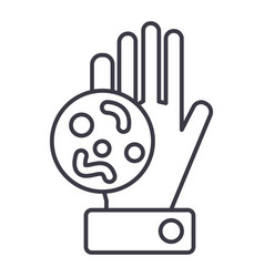 bacteria dirty hand line icon sign vector image