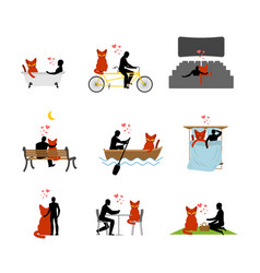 cat lover set man and pet in movie theater lovers vector image