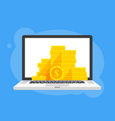 gold coins stack dollar symbol in laptop notebook vector image vector image