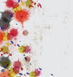 Ink splatter on grunge wall vector