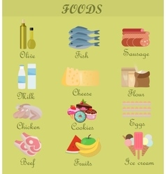Shopping product foods Flat decorative icons set vector image vector image