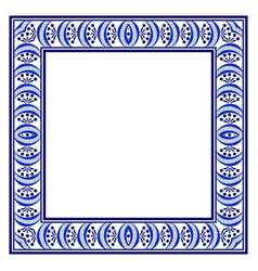 square frame with a blue ethnic hand-drawn pattern vector image