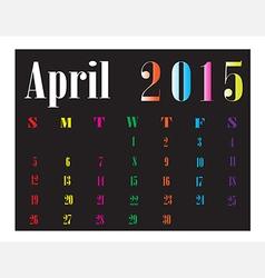 Calendar April 2015 vector image vector image