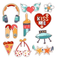 Set of quirky cartoon patch badges vector image vector image