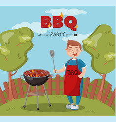 young man cooking barbecue on the backyard n vector image