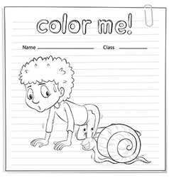 A color me worksheet with a kid and a snail vector image