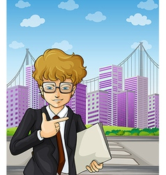 A handsome and smart-looking businessman holding vector