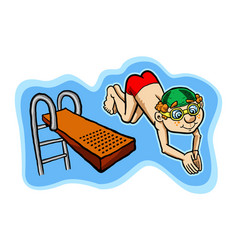 a happy kid diving off a diving board vector image