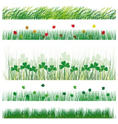 A set of strips of grass and leaves vector illustr vector