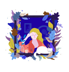 A woman character standing at home window dreaming vector