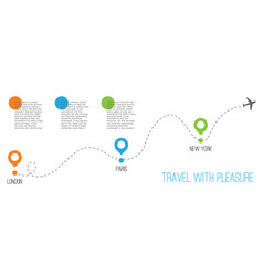 airplane with dotted flight path text travel vector image