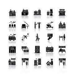 airport terminal drop shadow black glyph icons vector image