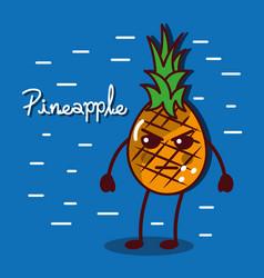 Angry pineapple fruit kawaii character food vector