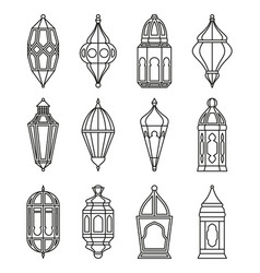 Arabic or islamic lanterns set vector