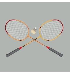 Badminton rackets and shuttlecock vector