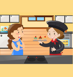 baker and woman in the kitchen vector image