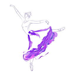 Ballet dancer in long tutu skirt vector