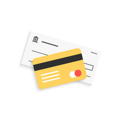 Bank check and golden credit card with shadow vector