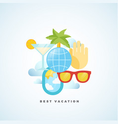best vacation flat style tourism vector image