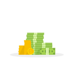big pile money and coins heap cash flat vector image