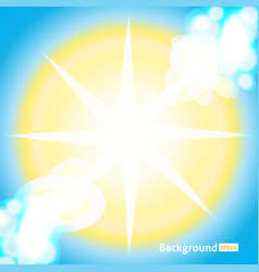 Bright sun rays background sunny vector