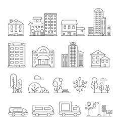 Buildings and urban objects linear vector