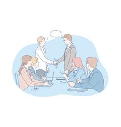 Business meeting negotiation team agreement vector