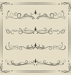 Calligraphic design elements curves and spirals vector image